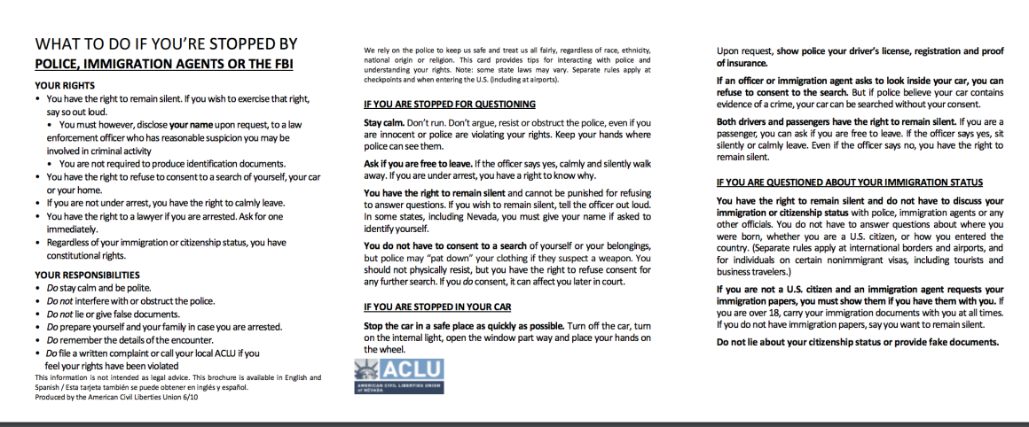 Pocket Card (PDF): What To Do if You're Stopped by Police