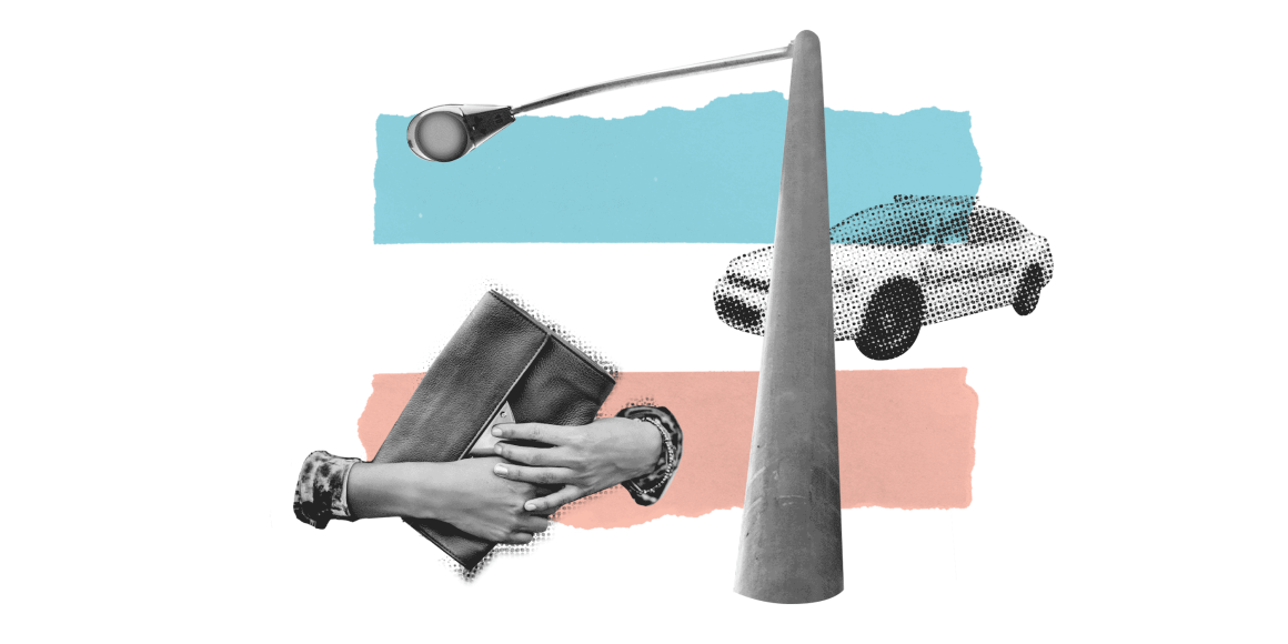 Two hands holding a purse near a street lamp and police car on a background with the trans flag colors.