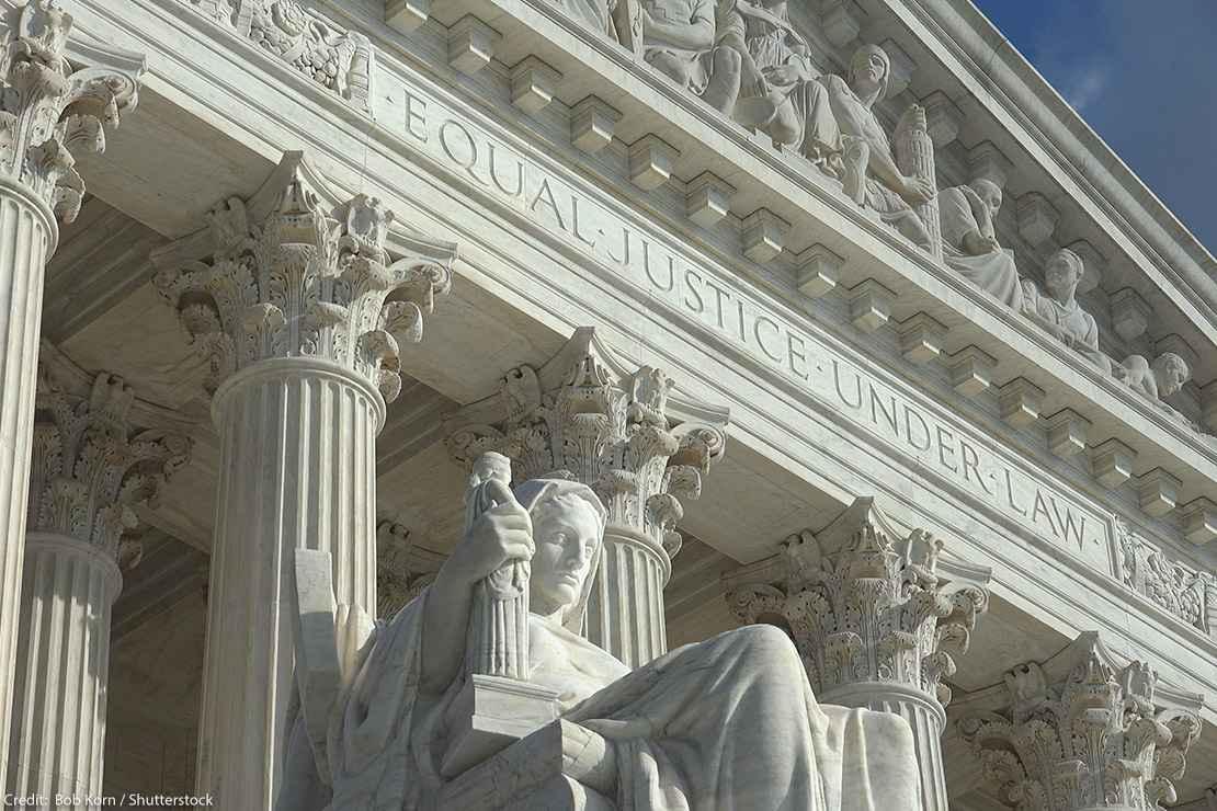 """Equal Justice Under Law"" engraving above entrance to US Supreme Court Building."