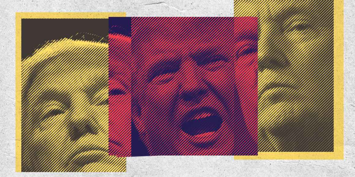 Montage of Donald Trump's face.
