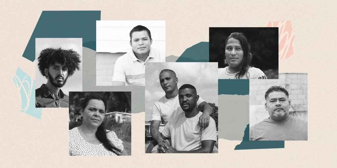 Collage of seven immigrants who share their experiences of being detained during the COVID-19 crisis.