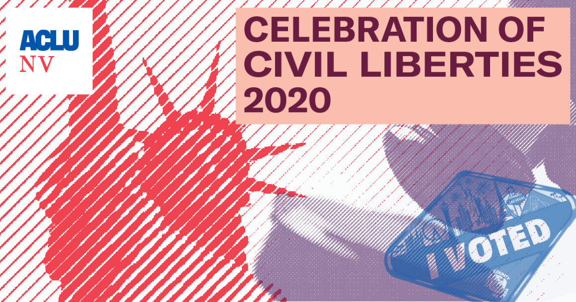 "Graphic promoting the ACLUNV's 2020 Celebration of Civil Liberties shows the Statue of Liberty, a gavel, and an ""I voted sticker"""