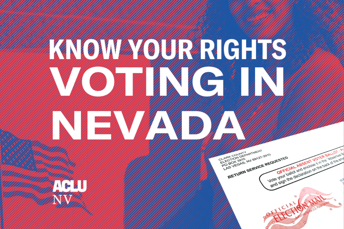 """Graphic reads """"Know Your Rights, Voting in Nevada"""""""