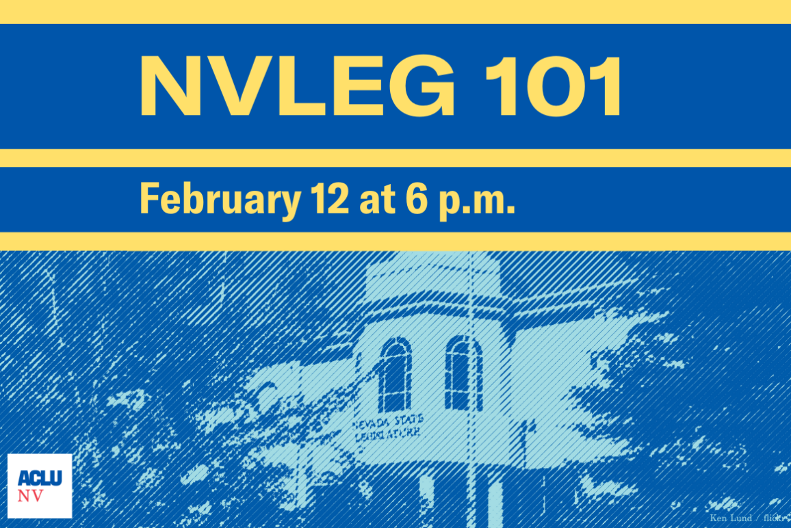 """Graphic of the Nevada Legislature building that reads """"NVLEG 101, February 12 at 6 p.m."""""""