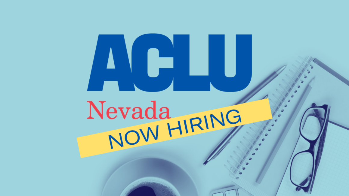 """Image shows office supplies next to the words """"ACLU Nevada Now Hiring"""""""