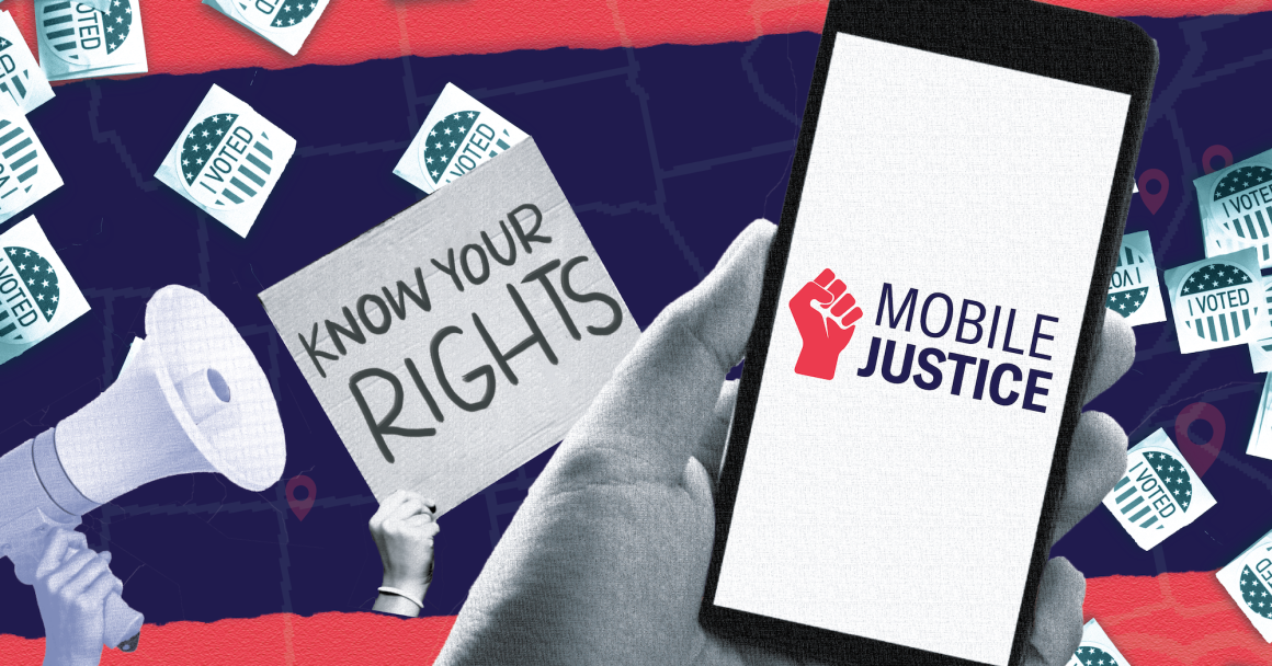 "Graphic showing images of a megaphone and a ""Know Your Rights"" sign as well as a smartphone with ""Mobile Justice"" on the screen"