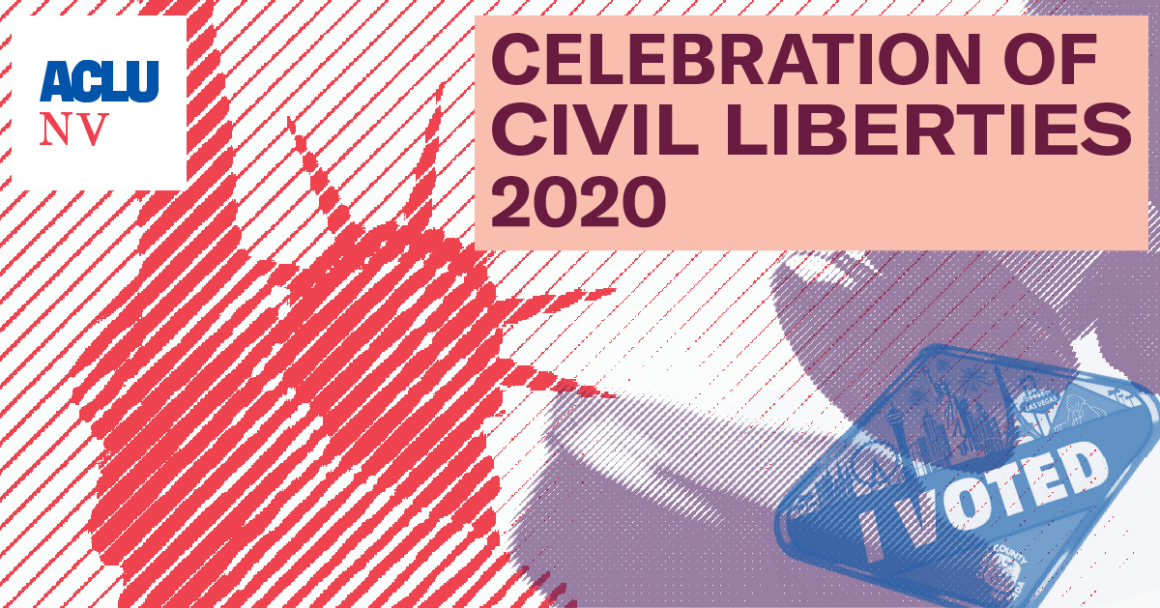 """Graphic promoting the ACLUNV's 2020 Celebration of Civil Liberties shows the Statue of Liberty, a gavel, and an """"I voted sticker"""""""